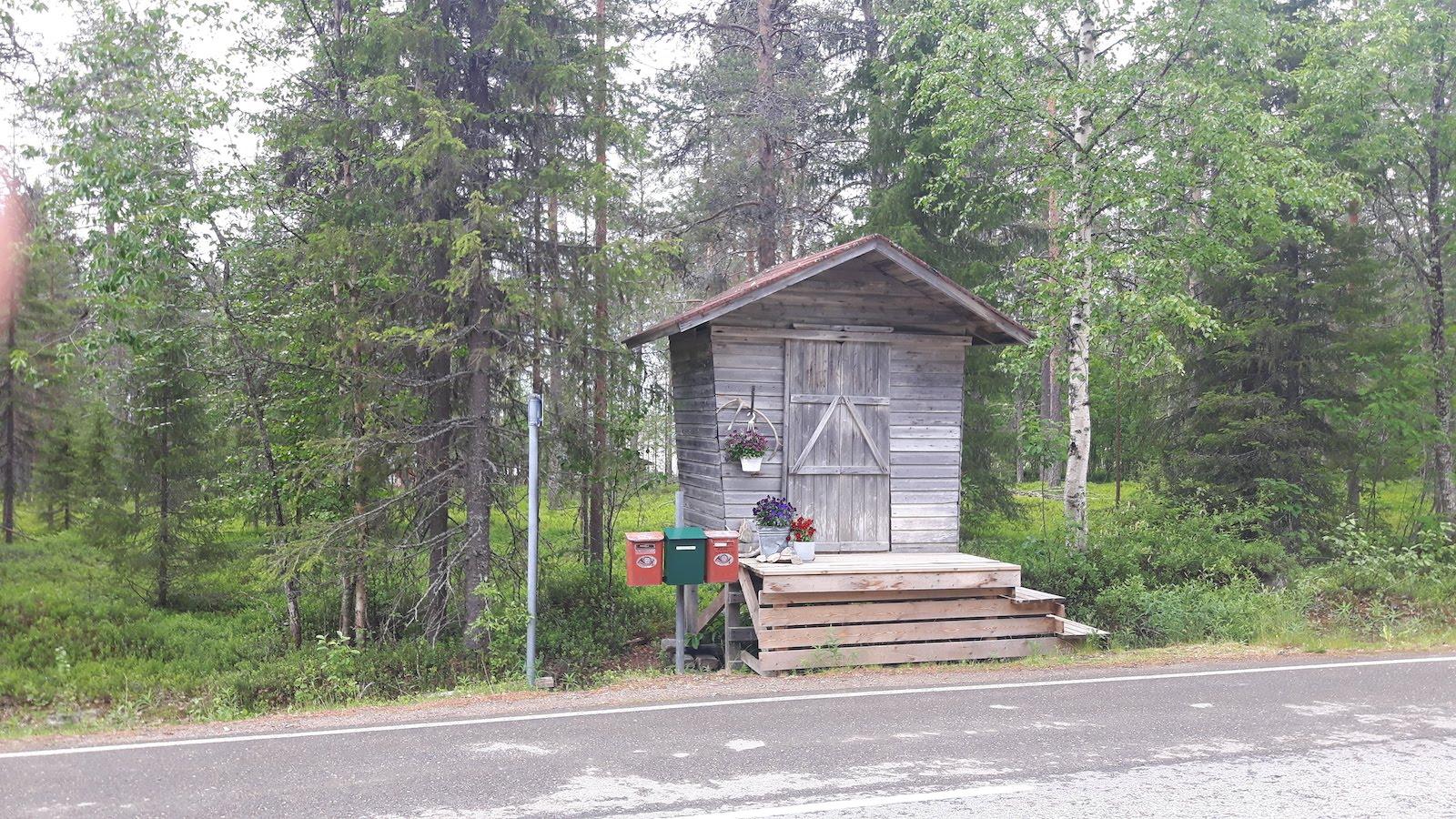 Old fashion milk pickup point near Sodankyla Finland