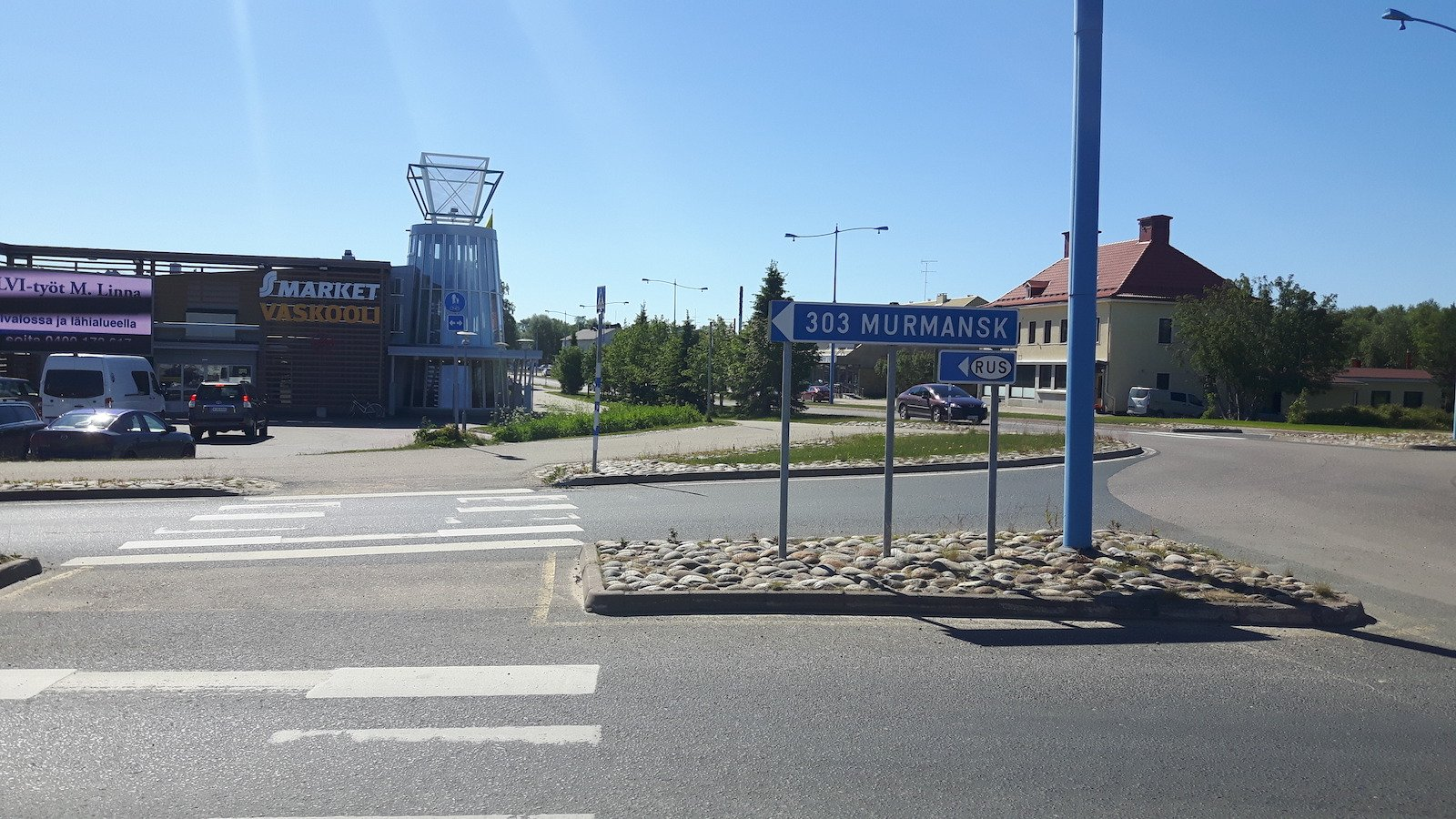 Road sign to Russia in Ivalo Finland