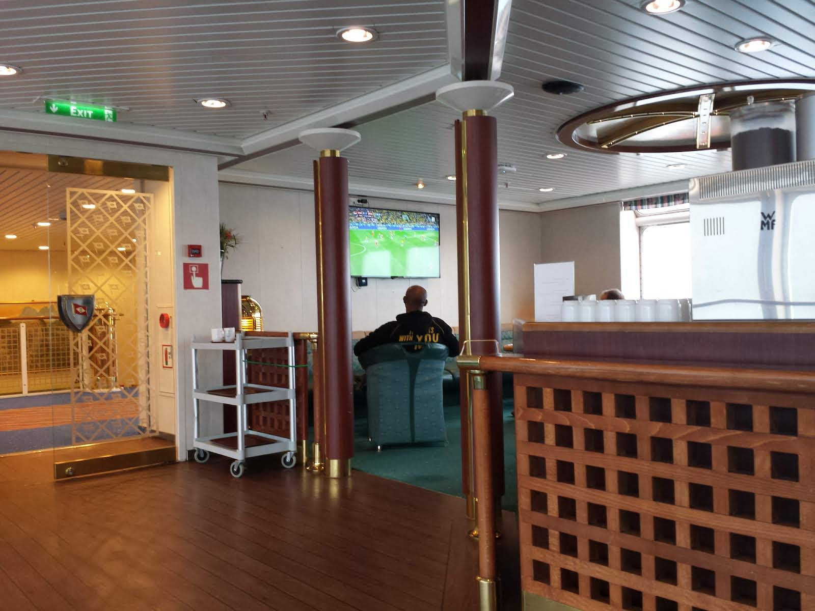 Life onboard the ship watching soccer game