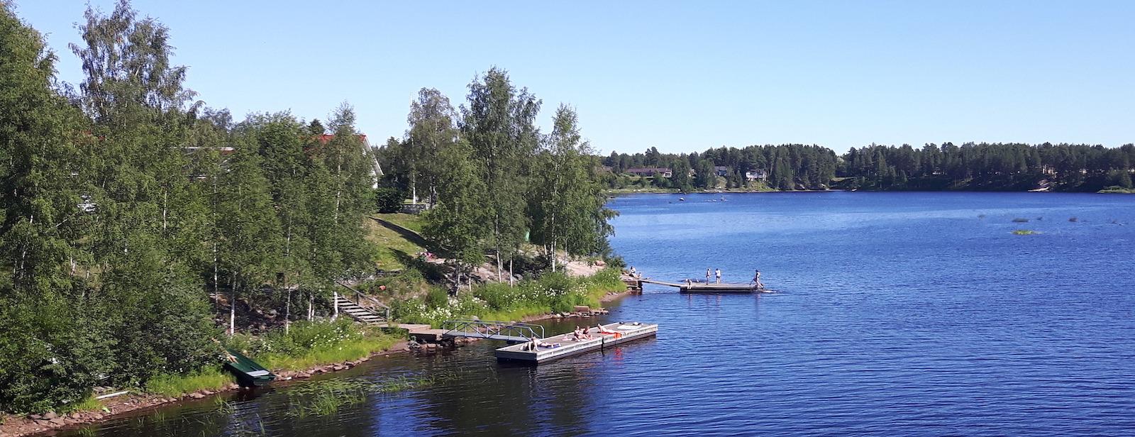 People sun bathing near Oulu Finland