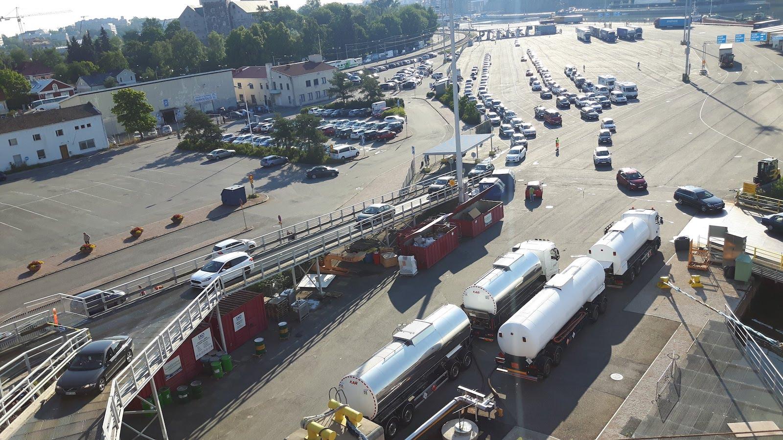 Loading the ferry in Turku Finland