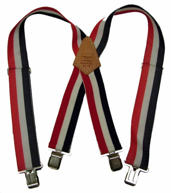 Heavy Duty Red, White & Blue Suspenders