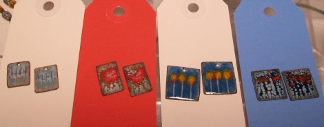 Colorful Torched Enamel Earrings ready for assembly