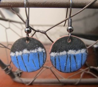 Round Enameled Copper Earrings