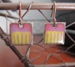 Square Enameled Copper Earrings