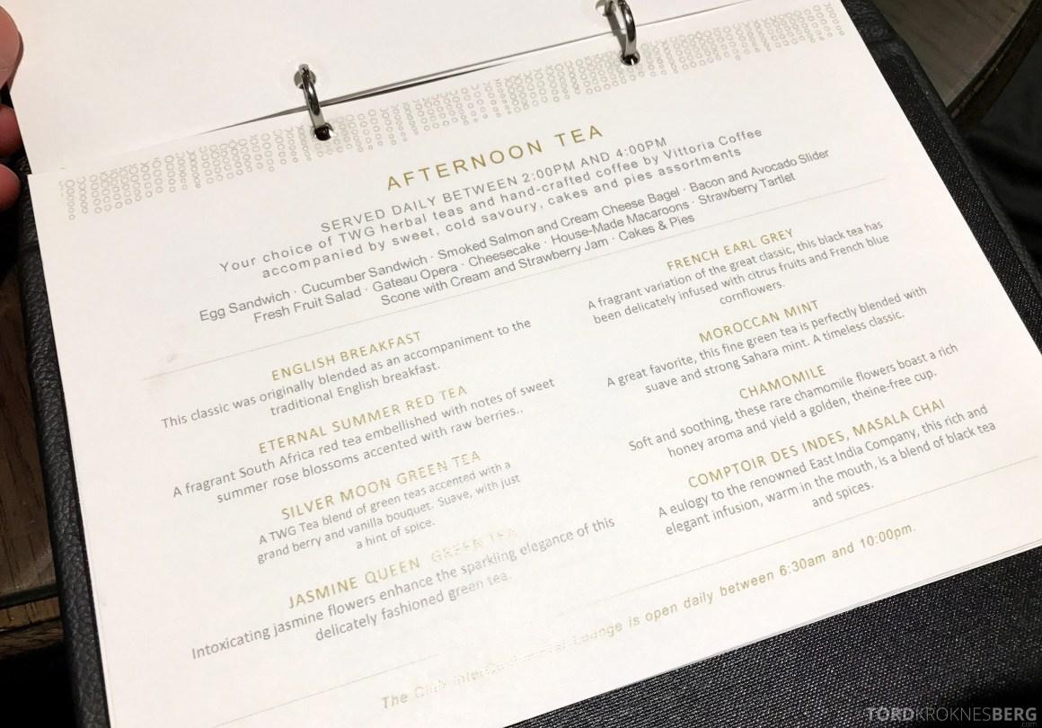 InterContinental Wellington Club Lounge meny afternoon tea