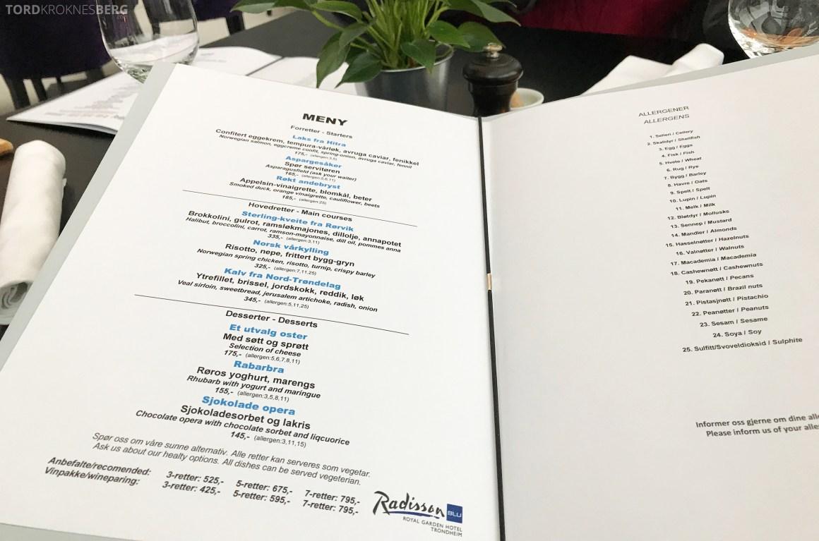 Restaurant 73 Radisson Blu Royal Garden Trondheim meny