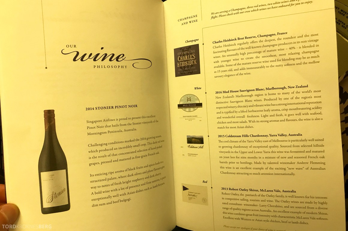 Singapore Airlines Business Class Canberra meny vin