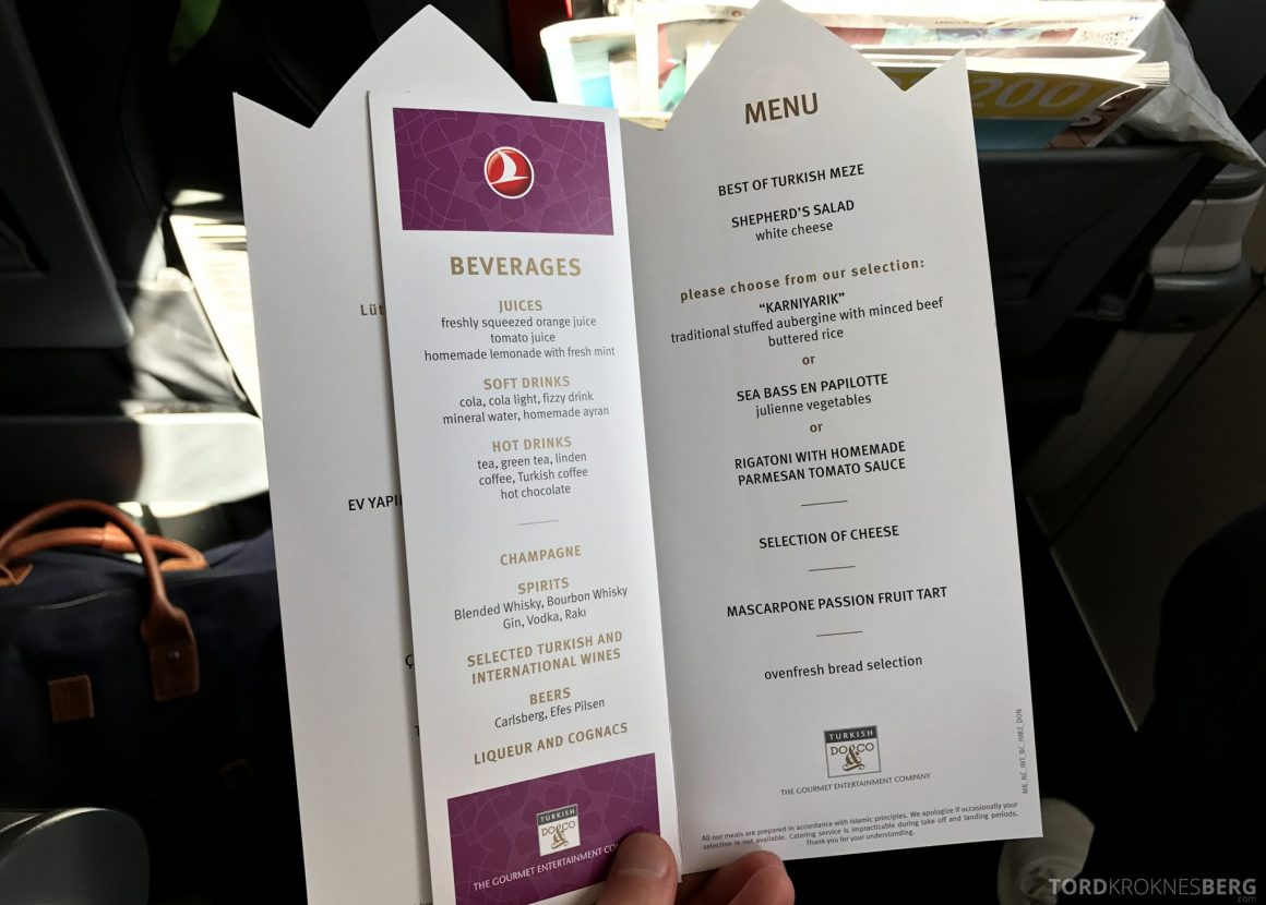 Turkish Airlines Business Class Oslo Istanbul meny