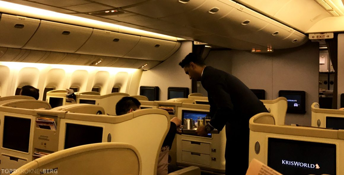 Singapore Airlines Business Class Wellington Canberra Changi velkomstdrink
