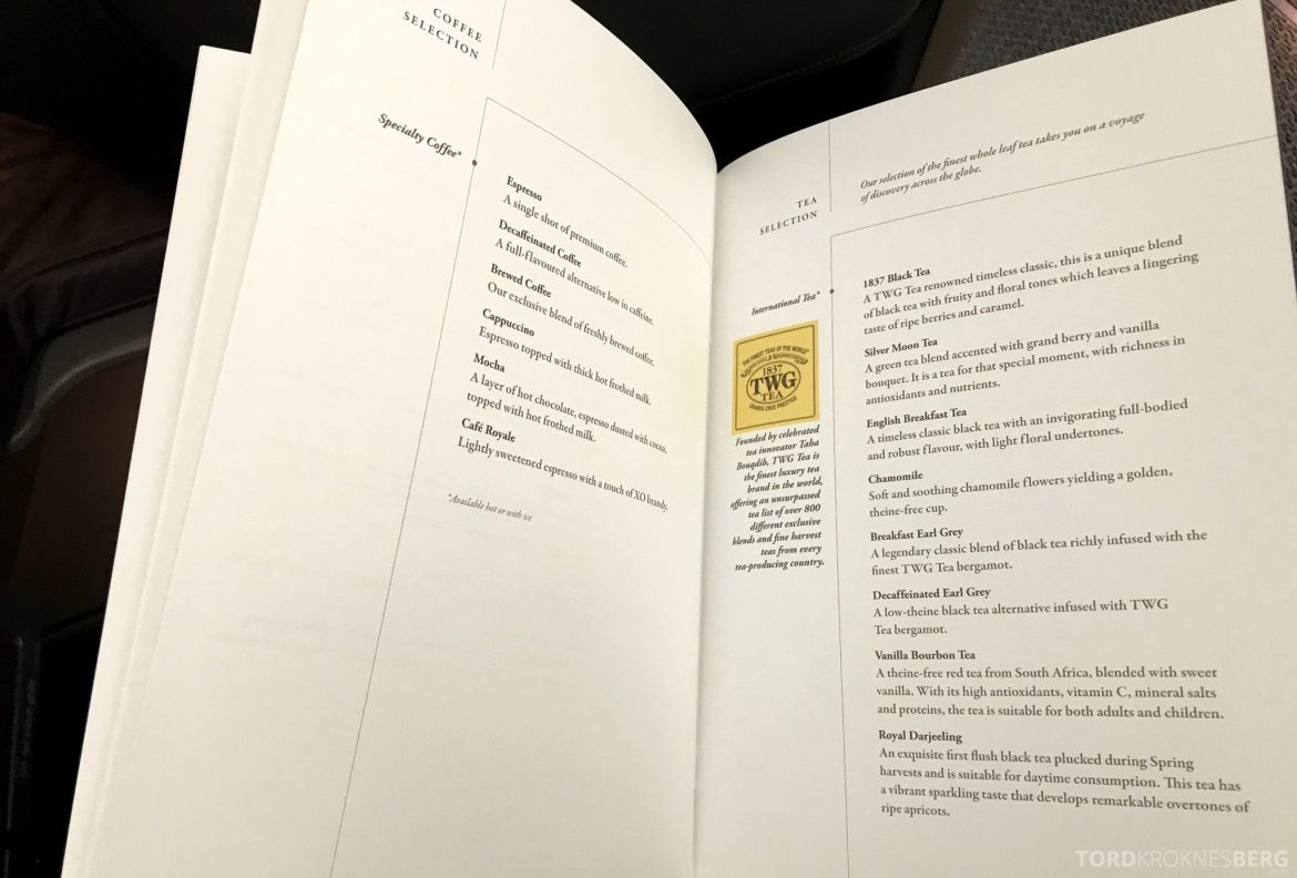 Singapore Airlines Business Class Moskva Stockholm meny kaffe og te