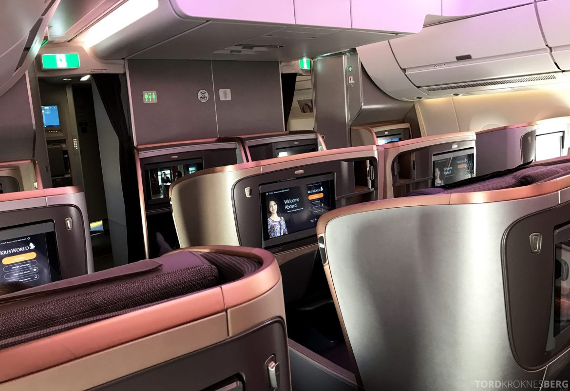 Singapore Airlines Business Class Moskva Stockholm kabin