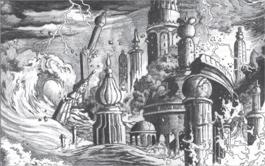 "Death in Freeport ""Ancient Cataclysm"" Pencil and ink. 9.5"" wide by 6"" high. $200"