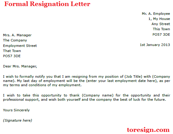 examples of resignations letters