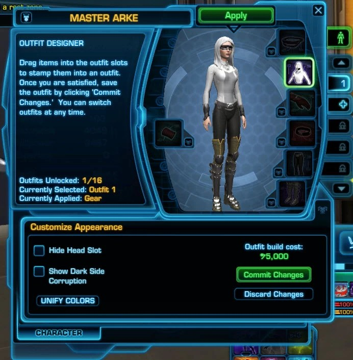 Swtor outfit designer hide head slot slots plus reviews