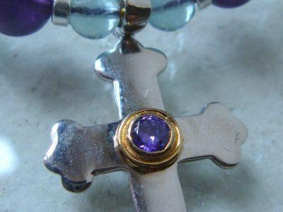 Kreuz mit Amethyst Steinkette 10