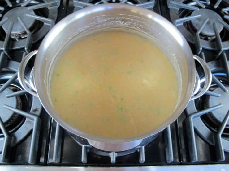 Bean soup simmering.