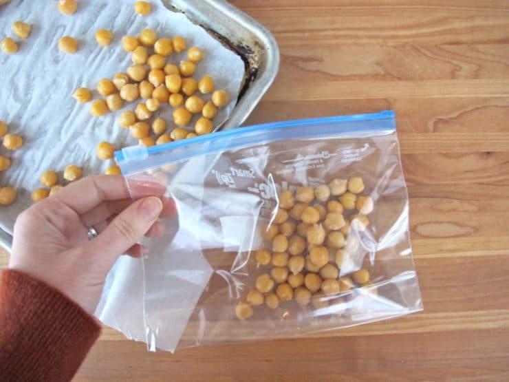 Frozen chickpeas in plastic zipper bag.
