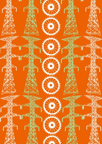 Telegraph pole with cog with orange