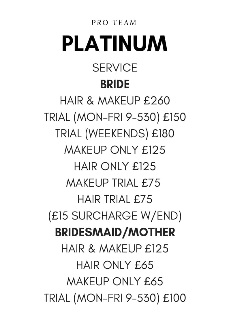 wedding makeup hair prices london, uk, worldwide price list