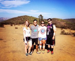 Annual freshman tradition of painting the CLU rocks: (Pictured from left to right: Dani, Ryan, me, and Josh)