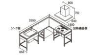 DIYキッチン255180L型プラン