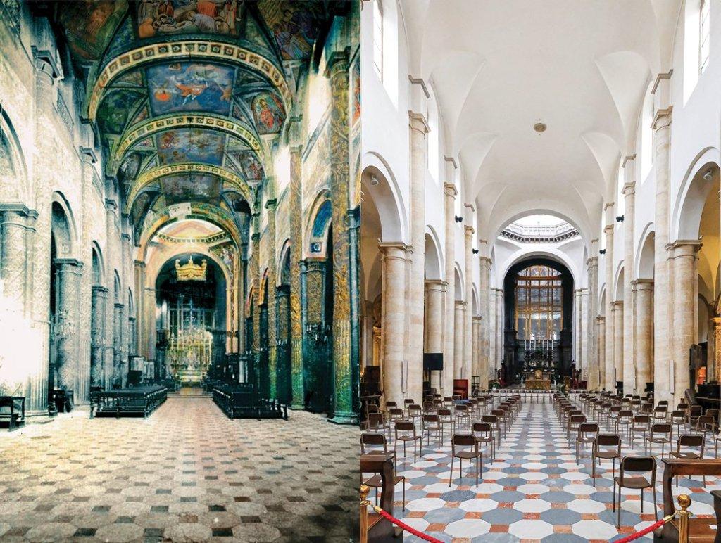 L'interno del duomo con e senza i dipinti ottocenteschi