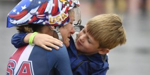 RIO DE JANEIRO, BRAZIL - AUGUST 10: Kristin Armstrong hugs her son Lucas Armstrong Savola, 5, after she won the gold medal in the women's cycling road individual time trial at Rio 2016 on Wednesday, August 10, 2016. (Photo by AAron Ontiveroz/The Denver Post via Getty Images)