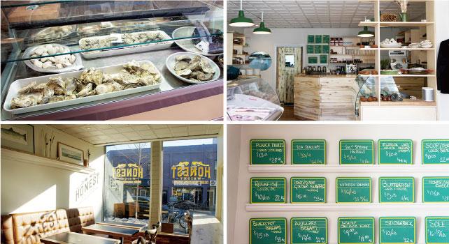 1.プリンスエドワード島やニューブランズウィック州から取り寄せた新鮮な貝 2.カウンターの壁にあるフードメニューにはお好み焼きの文字が。お店の人気メニュー$12  3.日の光がよく入る明るい店内 4.ボードにはフロリダやブリティッシュコロンビアなど取り寄せた地名とシーフードが書かれている