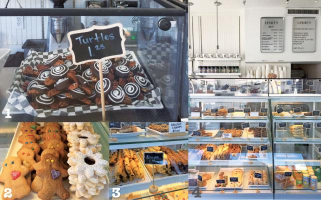 1Turtlesという渦巻きクッキーのネーミングセンスも抜群  2色とりどりのスマイリークッキー 3一番人気は紅茶フレーバーのビスコッティ 4ショーケースの中は夢がいっぱい♪