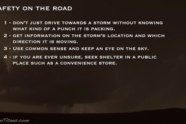 Taking shelter when on the road from severe storms