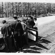 Strikers being stopped by Toronto Police near subdivision on Keele St. and Sheppard Ave. West. Photo by Harman. July 24, 1961. York University, Clara Thomas Archives and Special Collections, Toronto Telegram fonds, ASC52976.