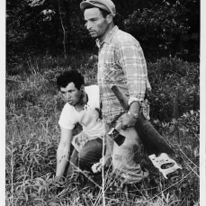 Two strikers at a residential project near Bayview and Steeles avenues. One is holding a small axe. Photo by Jack Judges. June 12, 1961. York University Libraries, Clara Thomas Archives and Special Collections, Toronto Telegram fonds, ASC53000.