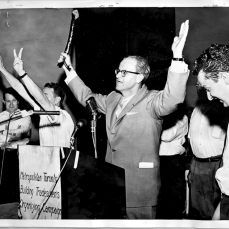 Charles Irvine holding shillelagh during Brandon Union Group strike meeting. Photographer unknown. June 11, 1961. Archives of Ontario, Charles Irvine fonds.