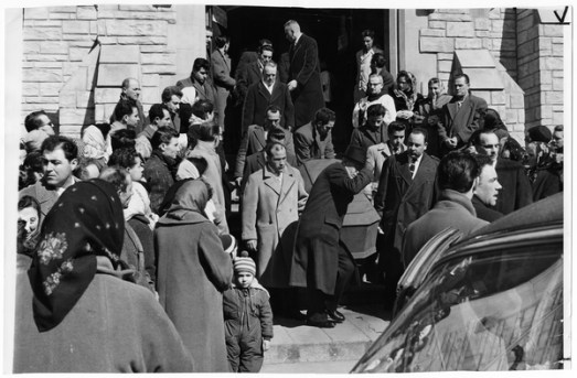 Scene of funeral for three of the Hoggs Hollow victims outside St. Agnes Catholic Church. Photo by Jack Judges. March 25, 1960. York University Libraries, Clara Thomas Archives and Special Collections, Toronto Telegram fonds, ASC50803.
