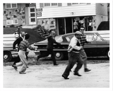 Strikers raiding a residential project near Steeles and Bayview avenues. Photo by Jack Judges. June 12, 1961. York University Libraries, Clara Thomas Archives and Special Collections, Toronto Telegram fonds, ASC52966.