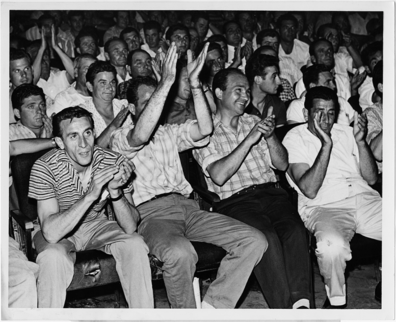 Workers in attendance at a Brandon Union Group strike meeting. Photographer unknown. 1961. Archives of Ontario, Charles Irvine fonds.