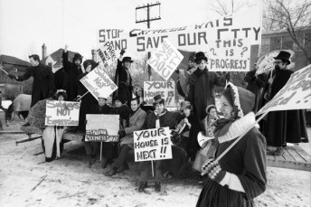 The Stop Spadina, Save Our City Committee. Photo by Bill Russell. December 8, 1969. York University Libraries, Clara Thomas Archives and Special Collections, Toronto Telegram fonds, ASC00707.