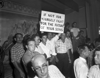 Brandon Union Group members holding strike sign at Brandon Hall. Photo by Jack Judges. August 6, 1960. York University Libraries, Clara Thomas Archives and Special Collections, Toronto Telegram fonds, ASC08255.