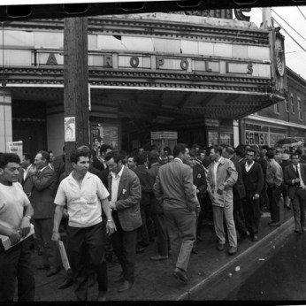 Concrete forming workers outside the Lansdowne Theatre. Photo by Reg Towers. June 1, 1969. York University Libraries, Clara Thomas Archives and Special Collections, Toronto Telegram fonds, ASC52159.