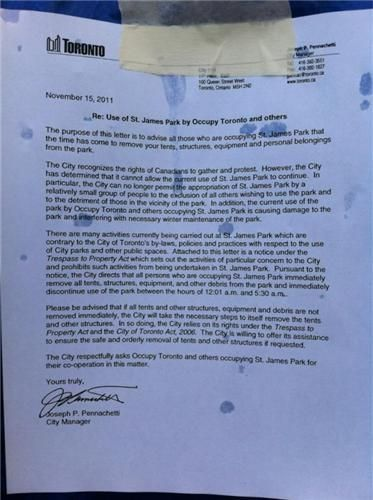 Occupy Toronto Eviction Notice  Toronto Media Coop