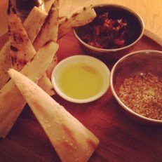 Dukkah & Eggplant Caponata with Manoucher Barbaree Flatbread at the Harvest Kitchen Meatless Monday Tasting