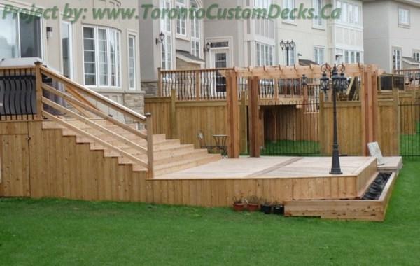 cedar patio deck with lighting
