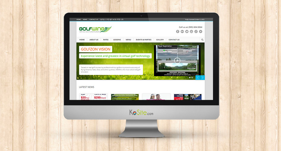 Responsive website development for a indoor golf simulation company