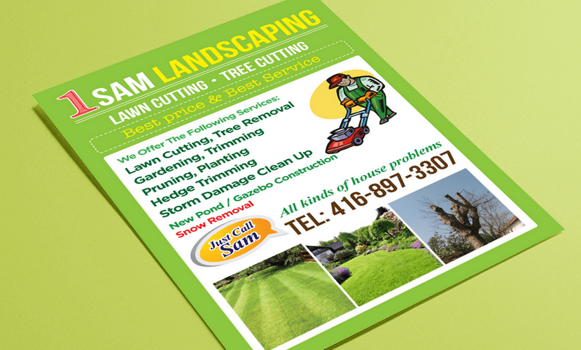 Flyer design & print for a landscaping company