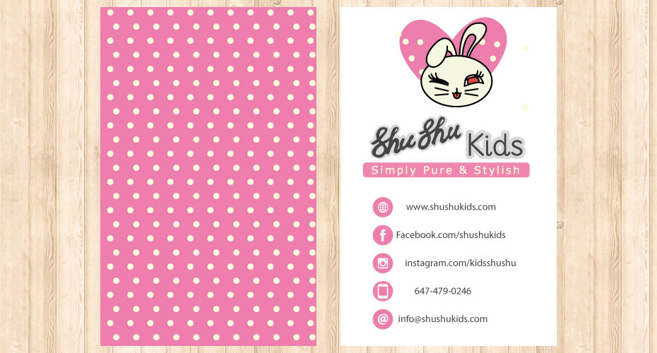 Business card design & print for a kid's cosmetics brand