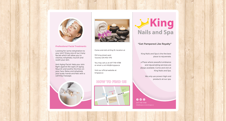 Brochure design & print for a spa