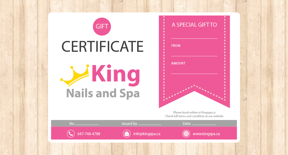 Gift card design & print for a spa