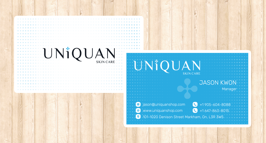 Designed and Printed Business Card for Uniquan Cosmetics