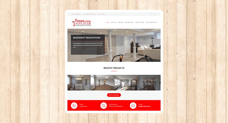 Responsive website for a renovation company